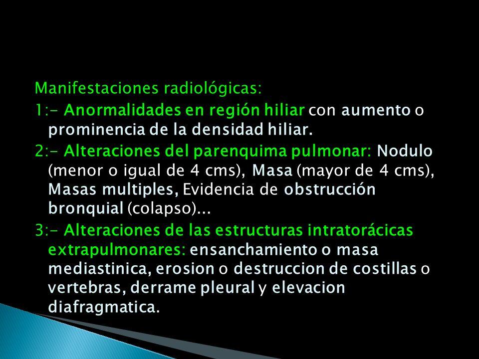 Manifestaciones radiológicas: