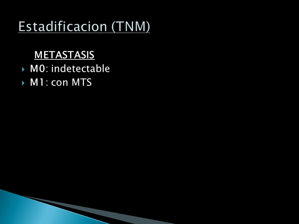 Estadificacion (TNM) METASTASIS M0: indetectable M1: con MTS