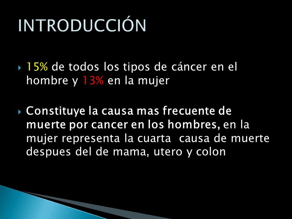 INTRODUCCIÓN 15% de todos los tipos de cáncer en el hombre y 13% en la mujer.