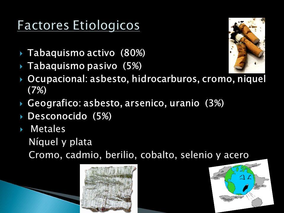 Factores Etiologicos Tabaquismo activo (80%) Tabaquismo pasivo (5%)