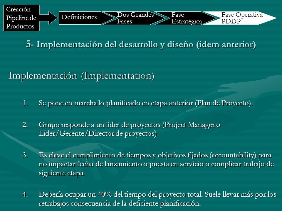 5- Implementación del desarrollo y diseño (idem anterior)