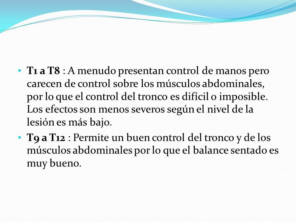T1 a T8 : A menudo presentan control de manos pero carecen de control sobre los músculos abdominales, por lo que el control del tronco es difícil o imposible. Los efectos son menos severos según el nivel de la lesión es más bajo.
