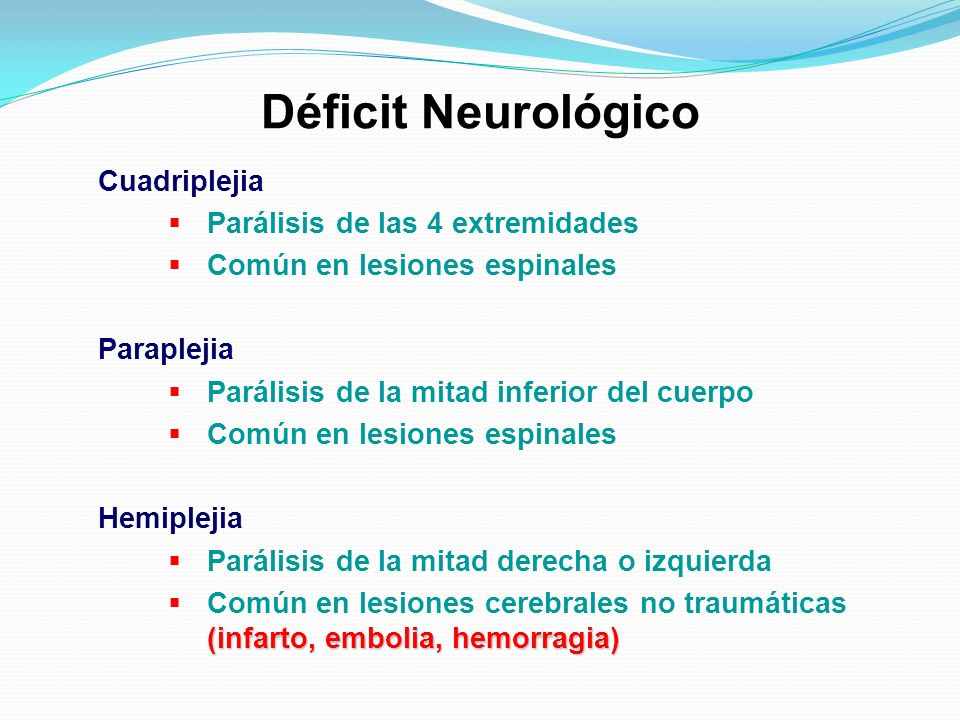 Déficit Neurológico Cuadriplejia Parálisis de las 4 extremidades