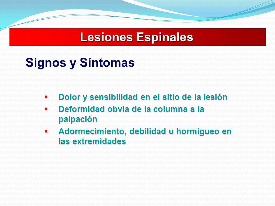 Lesiones Espinales Signos y Síntomas