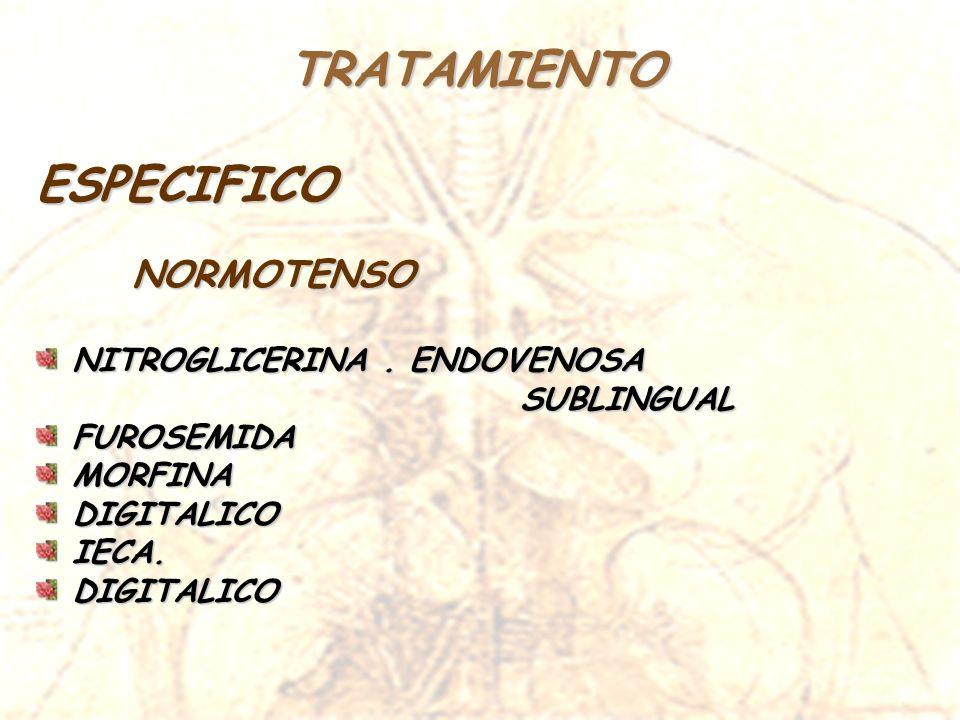 TRATAMIENTO ESPECIFICO NORMOTENSO NITROGLICERINA . ENDOVENOSA