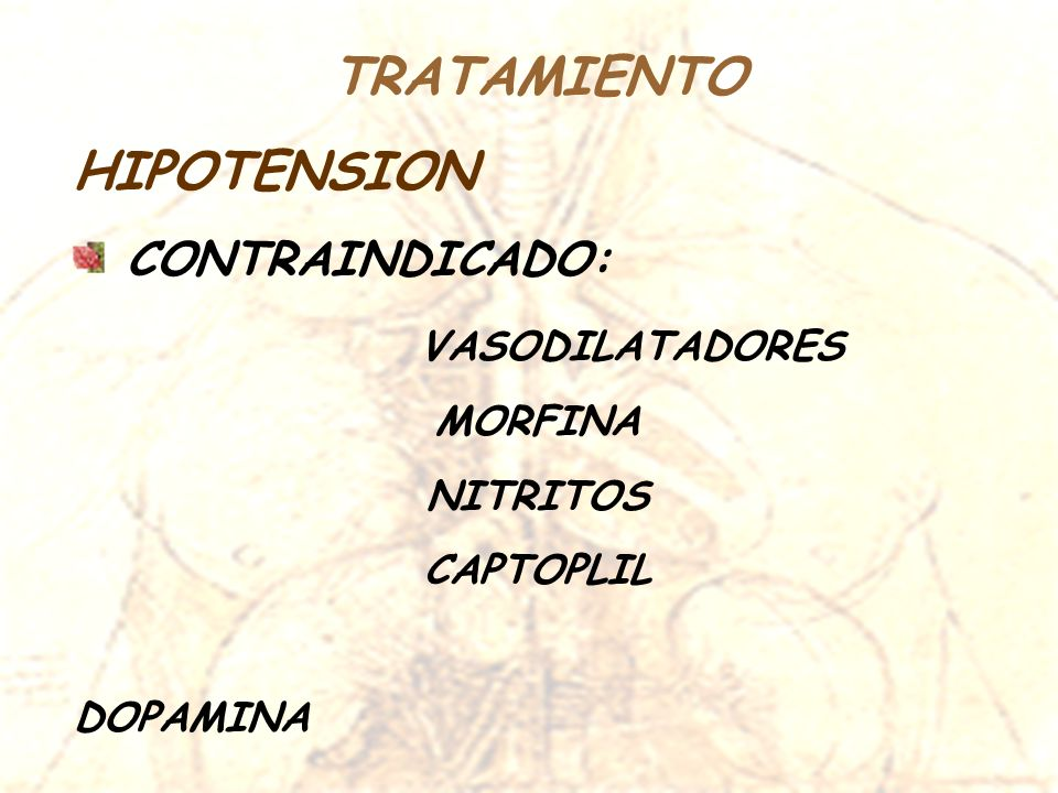 TRATAMIENTO HIPOTENSION CONTRAINDICADO: VASODILATADORES MORFINA