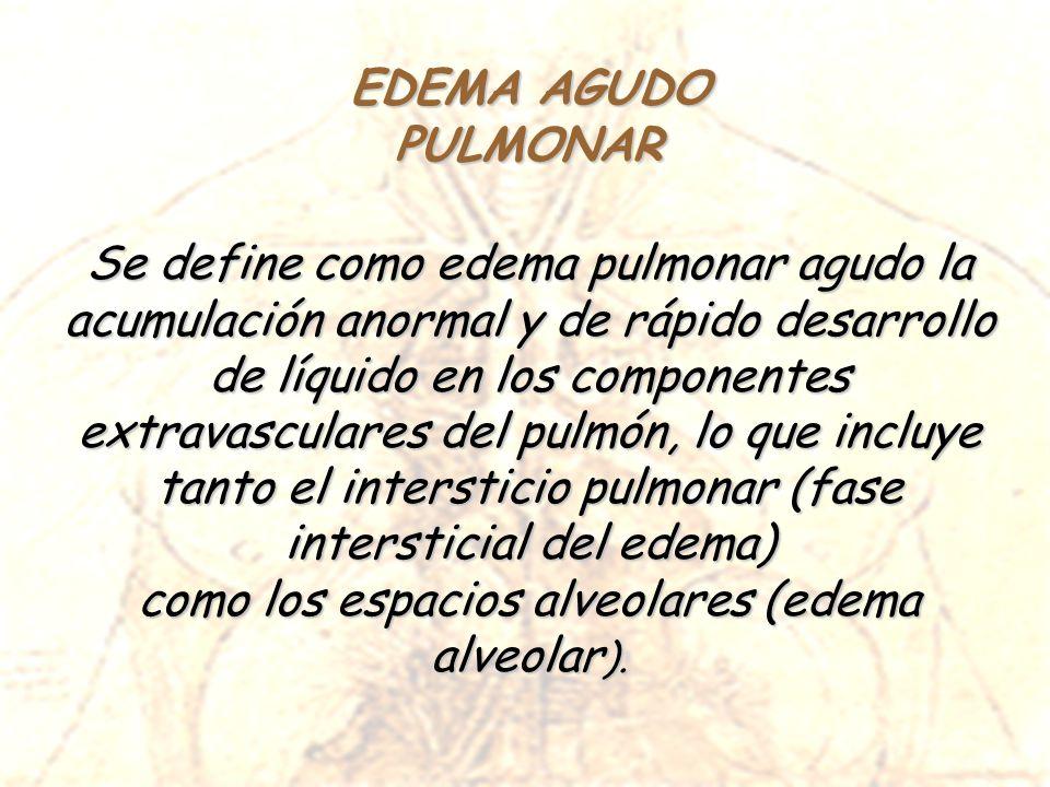 Se define como edema pulmonar agudo la