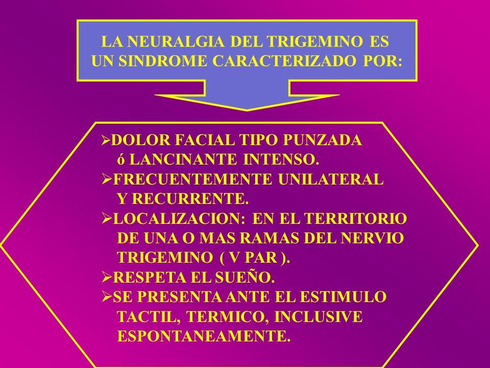LA NEURALGIA DEL TRIGEMINO ES UN SINDROME CARACTERIZADO POR: