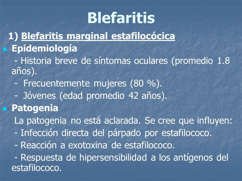 Blefaritis 1) Blefaritis marginal estafilocócica Epidemiología