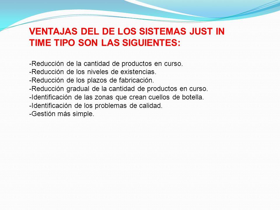 VENTAJAS DEL DE LOS SISTEMAS JUST IN TIME TIPO SON LAS SIGUIENTES: