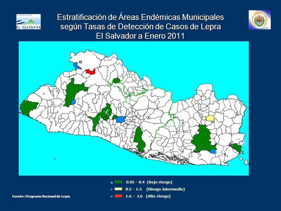 Estratificación de Áreas Endémicas Municipales según Tasas de Detección de Casos de Lepra El Salvador a Enero 2011