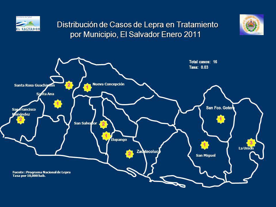 Distribución de Casos de Lepra en Tratamiento por Municipio, El Salvador Enero 2011