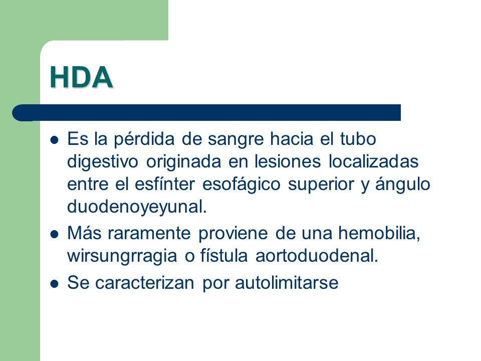 HDA Es la pérdida de sangre hacia el tubo digestivo originada en lesiones localizadas entre el esfínter esofágico superior y ángulo duodenoyeyunal.