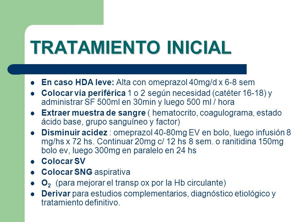TRATAMIENTO INICIAL En caso HDA leve: Alta con omeprazol 40mg/d x 6-8 sem.