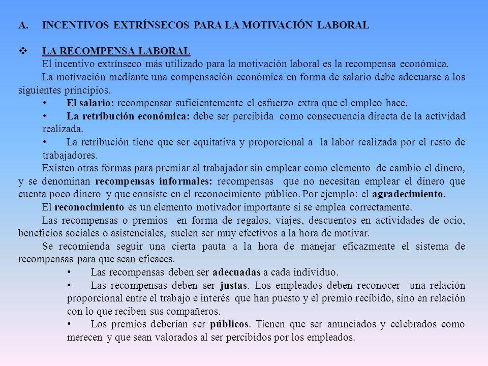 INCENTIVOS EXTRÍNSECOS PARA LA MOTIVACIÓN LABORAL