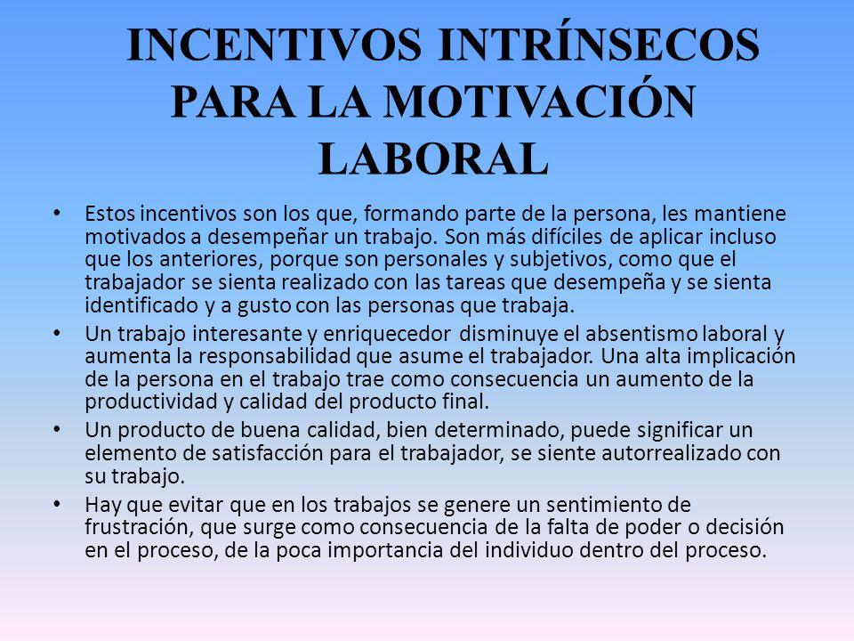 INCENTIVOS INTRÍNSECOS PARA LA MOTIVACIÓN LABORAL