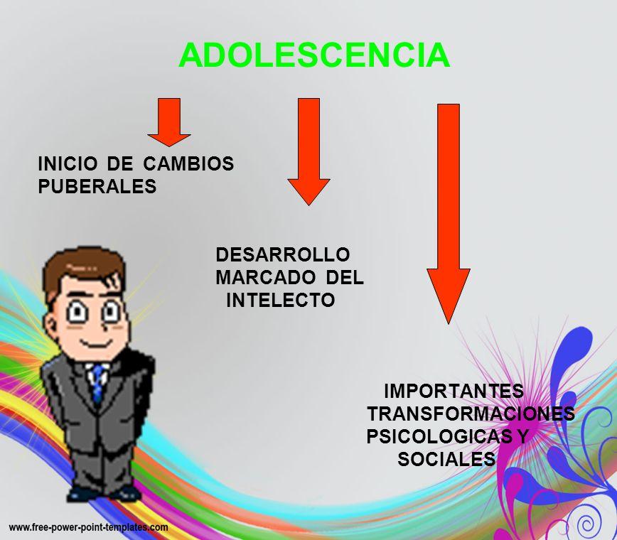 ADOLESCENCIAINICIO DE CAMBIOS. PUBERALES. DESARROLLO. MARCADO DEL. INTELECTO. IMPORTANTES. TRANSFORMACIONES.