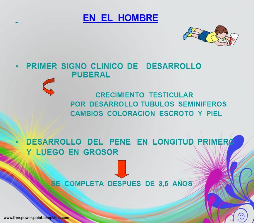 EN EL HOMBRE PRIMER SIGNO CLINICO DE DESARROLLO PUBERAL