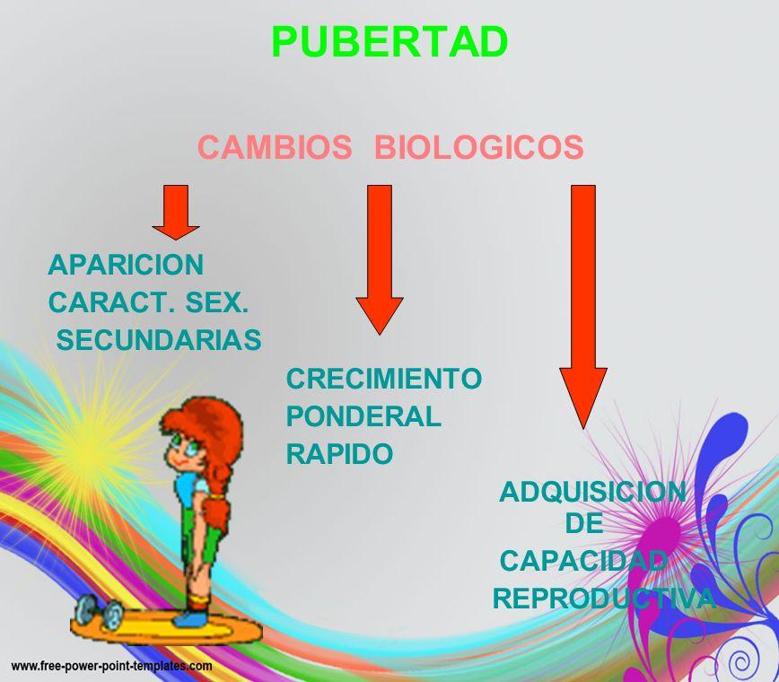 PUBERTAD CAMBIOS BIOLOGICOS APARICION CARACT. SEX. SECUNDARIAS