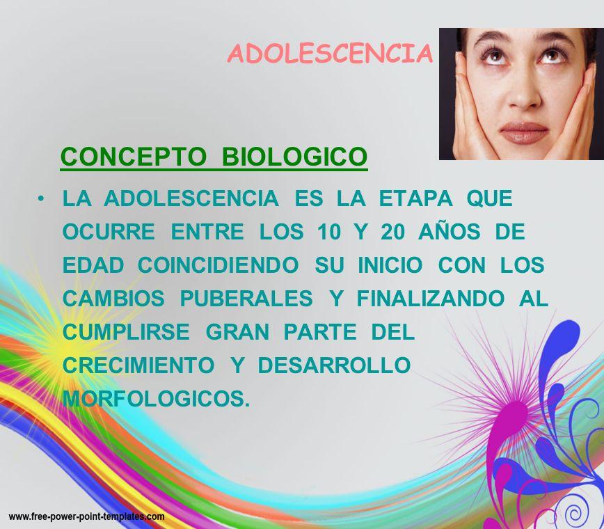 ADOLESCENCIACONCEPTO BIOLOGICO.