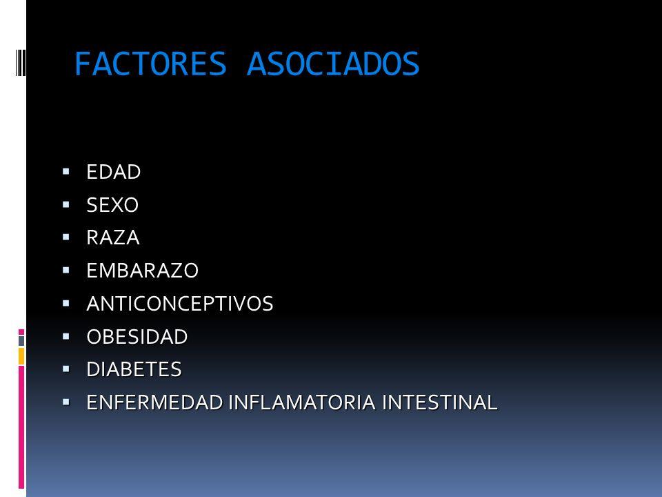 FACTORES ASOCIADOS EDAD SEXO RAZA EMBARAZO ANTICONCEPTIVOS OBESIDAD