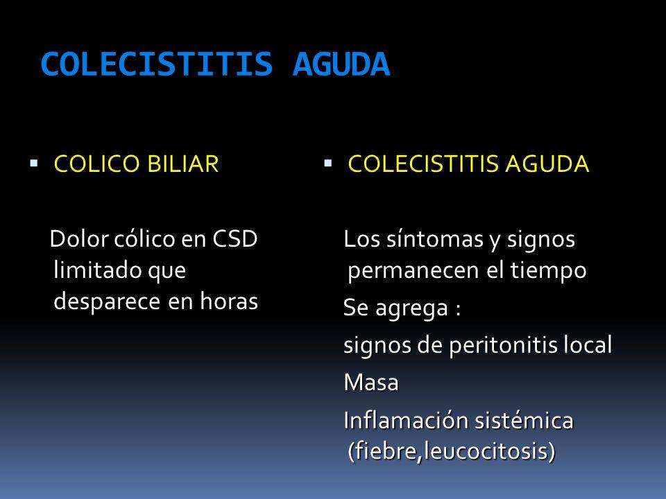 COLECISTITIS AGUDA COLICO BILIAR