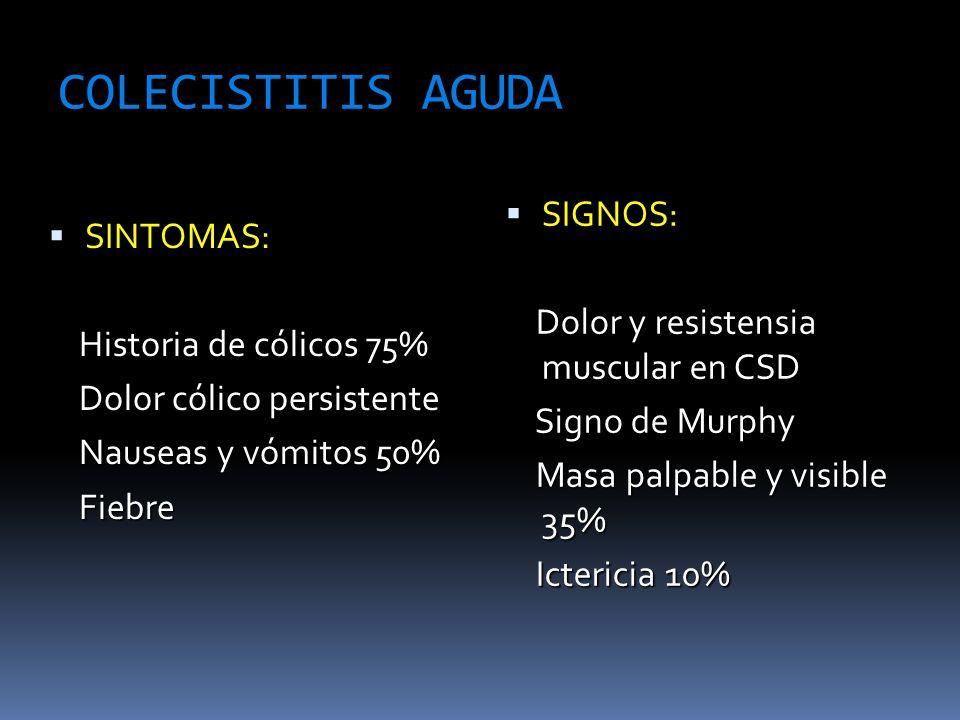 COLECISTITIS AGUDA SIGNOS: Dolor y resistensia muscular en CSD