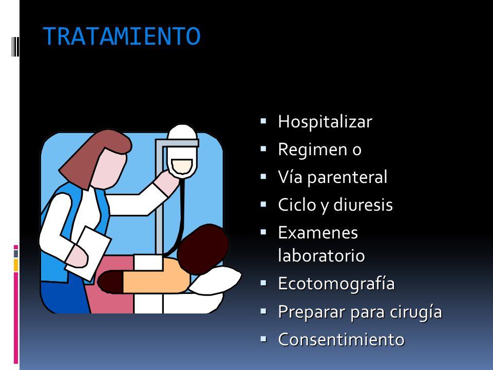 TRATAMIENTO Hospitalizar Regimen 0 Vía parenteral Ciclo y diuresis