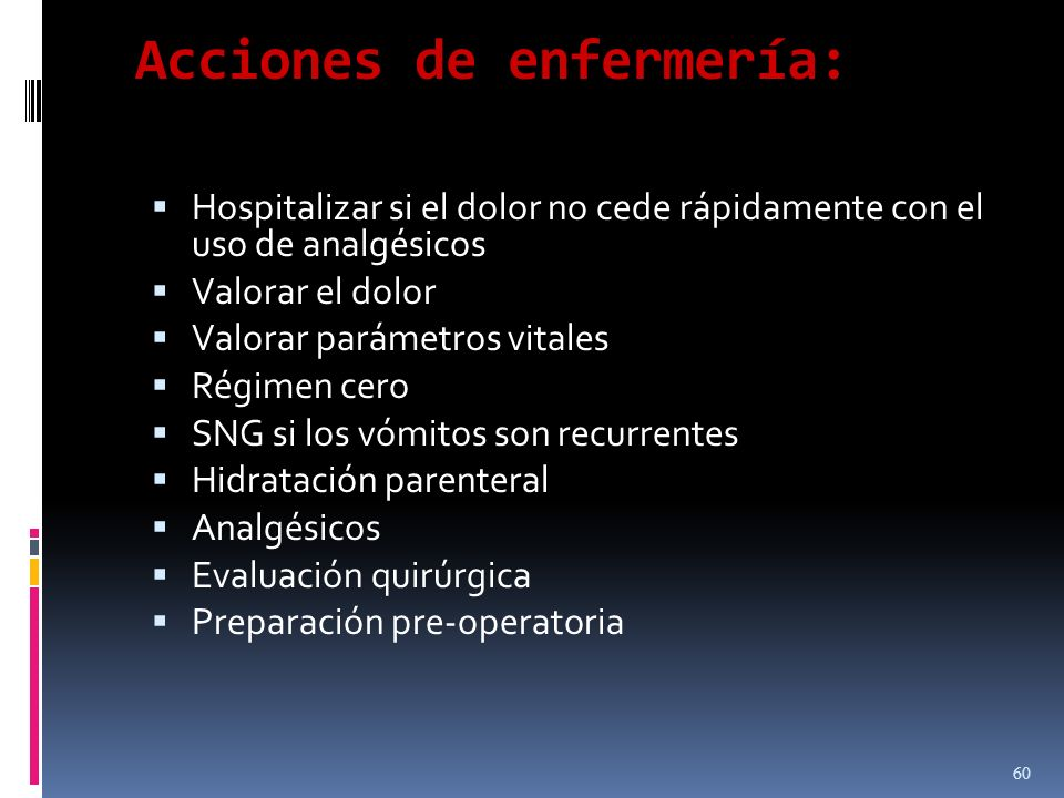Acciones de enfermería: