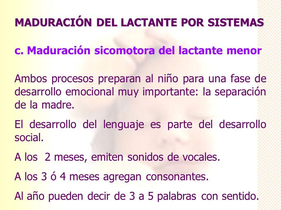 MADURACIÓN DEL LACTANTE POR SISTEMAS