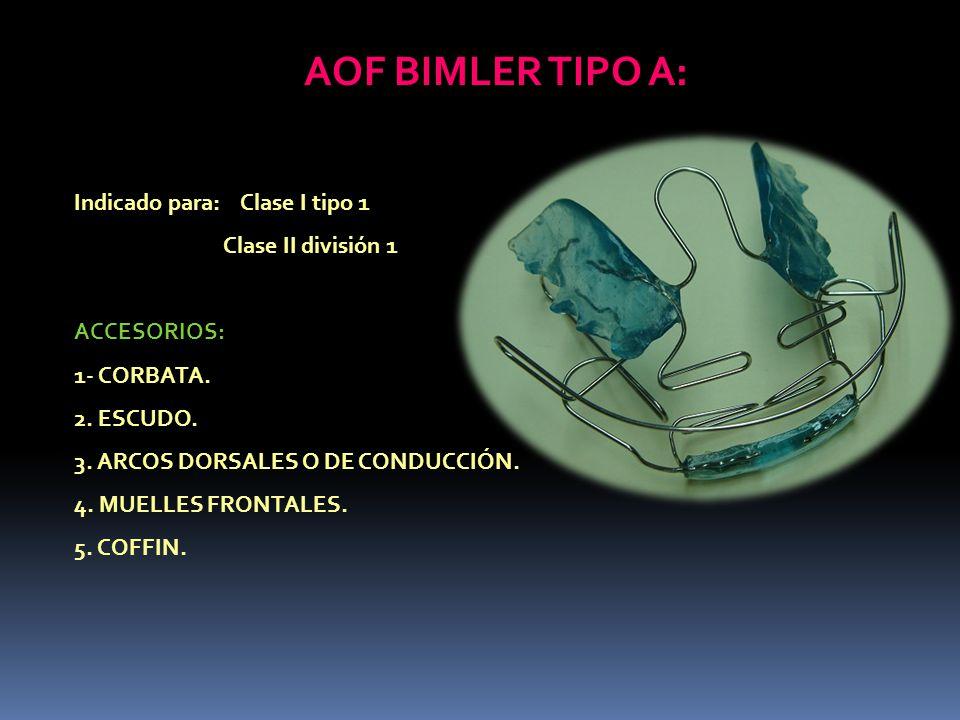 AOF BIMLER TIPO A: Indicado para: Clase I tipo 1 Clase II división 1