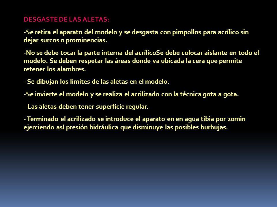 DESGASTE DE LAS ALETAS: