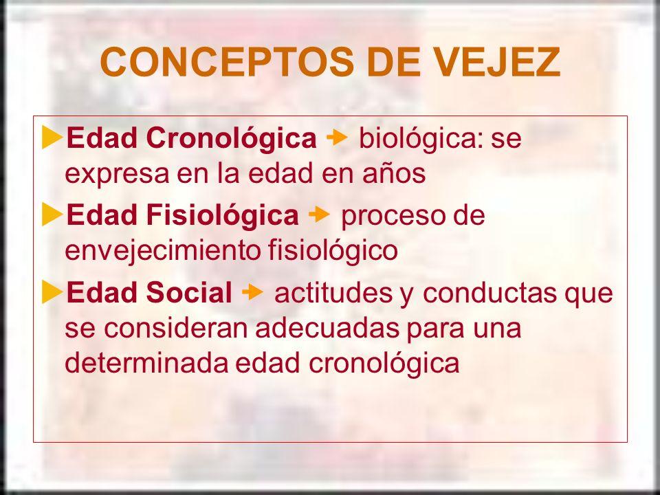 CONCEPTOS DE VEJEZ Edad Cronológica  biológica: se expresa en la edad en años. Edad Fisiológica  proceso de envejecimiento fisiológico.