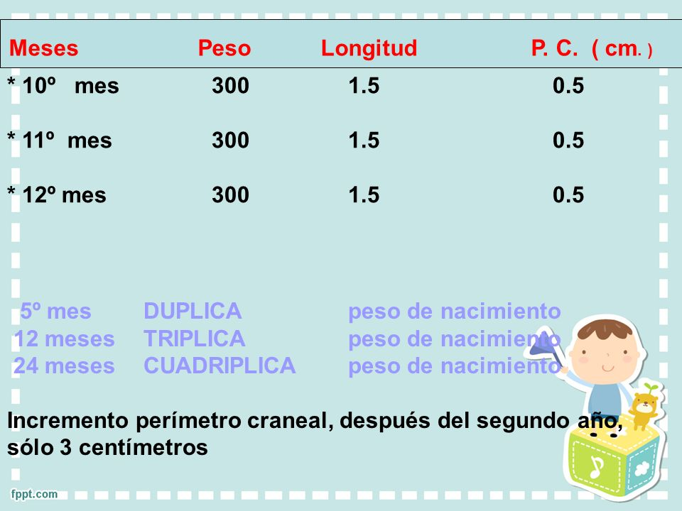 Meses Peso Longitud P. C. ( cm. )