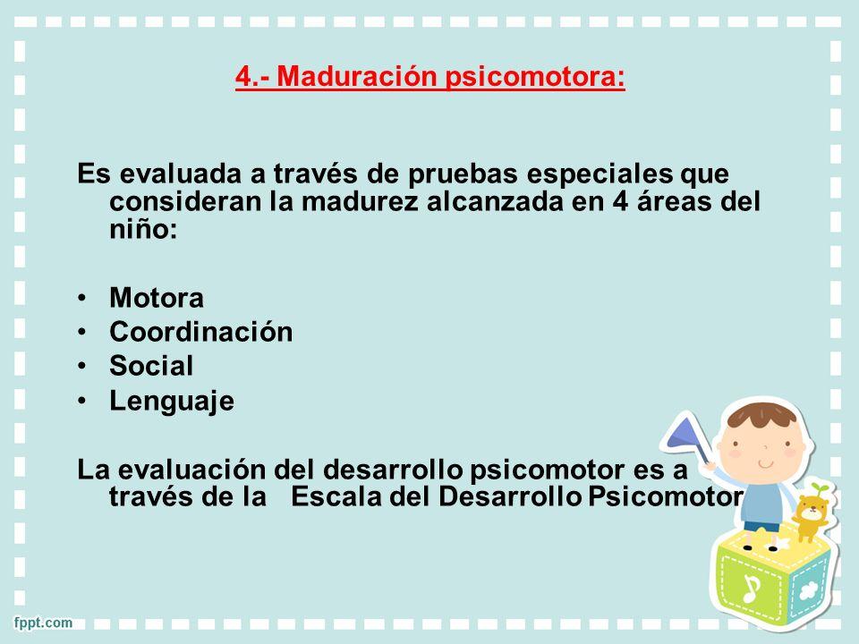 4.- Maduración psicomotora: