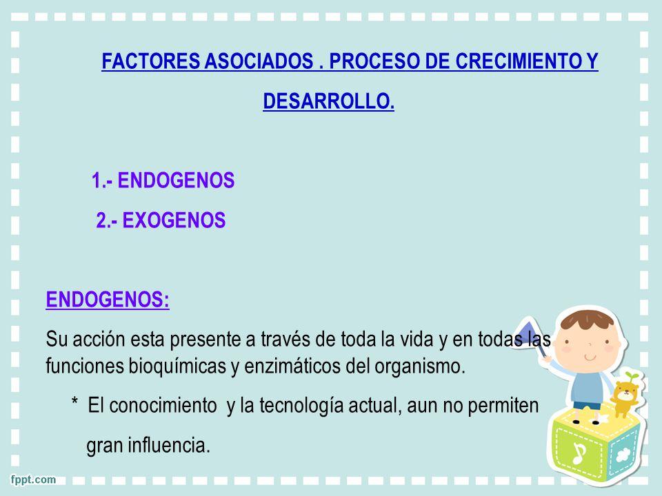 FACTORES ASOCIADOS . PROCESO DE CRECIMIENTO Y
