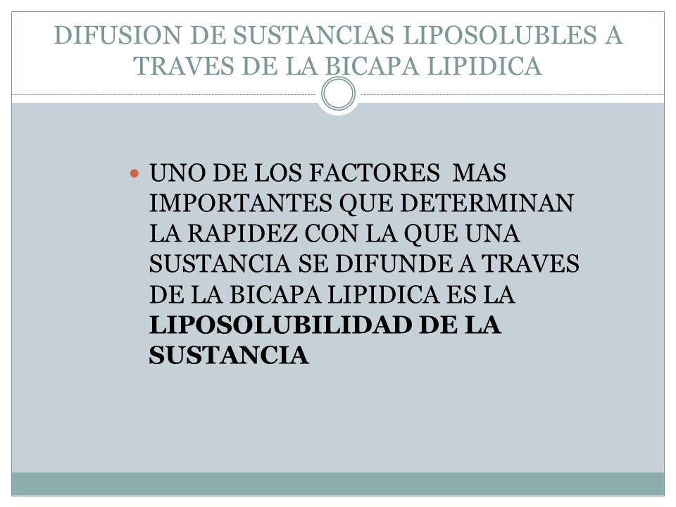 DIFUSION DE SUSTANCIAS LIPOSOLUBLES A TRAVES DE LA BICAPA LIPIDICA
