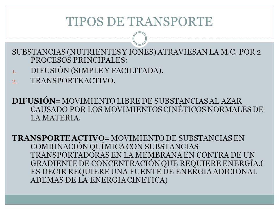 TIPOS DE TRANSPORTE SUBSTANCIAS (NUTRIENTES Y IONES) ATRAVIESAN LA M.C. POR 2 PROCESOS PRINCIPALES: