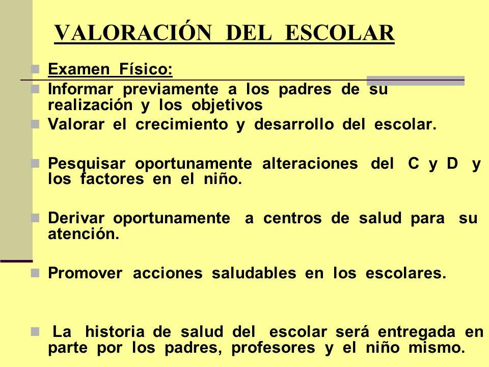 VALORACIÓN DEL ESCOLAR