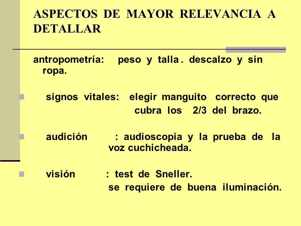 ASPECTOS DE MAYOR RELEVANCIA A DETALLAR