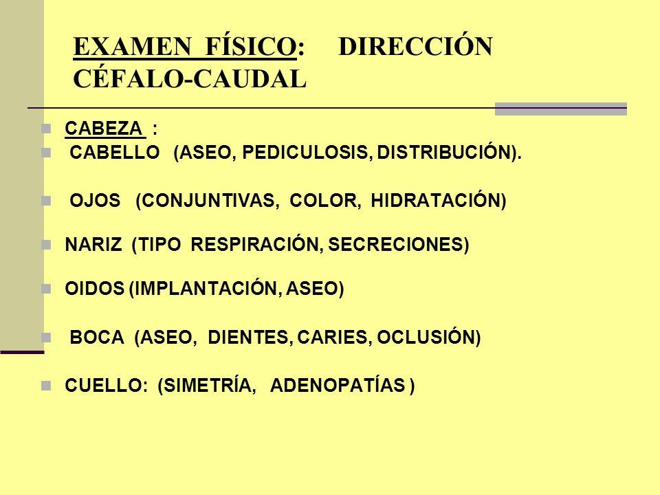 EXAMEN FÍSICO: DIRECCIÓN CÉFALO-CAUDAL