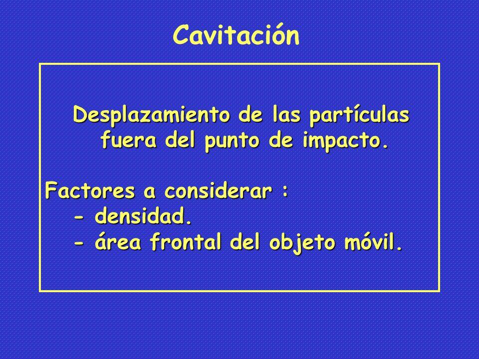 Cavitación Desplazamiento de las partículas
