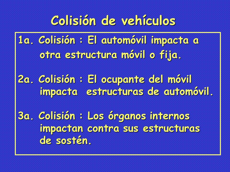 Colisión de vehículos 1a. Colisión : El automóvil impacta a