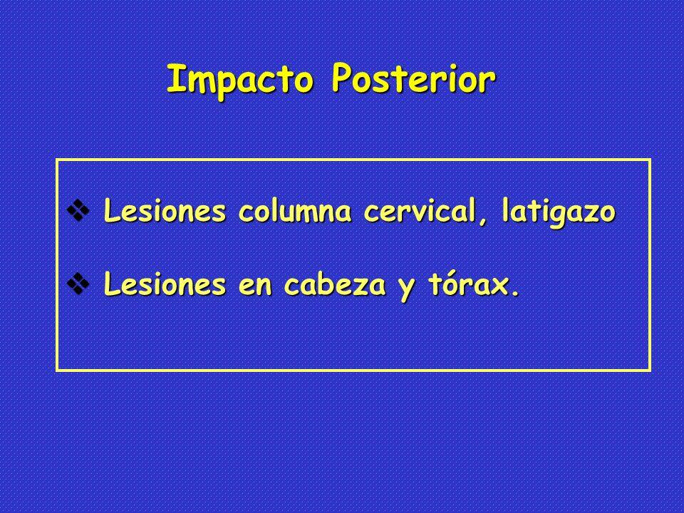 Impacto Posterior Lesiones columna cervical, latigazo