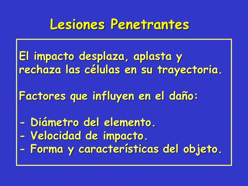 Lesiones Penetrantes El impacto desplaza, aplasta y
