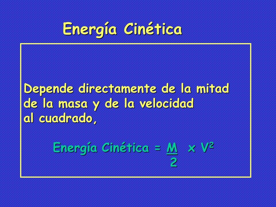 Energía Cinética Depende directamente de la mitad
