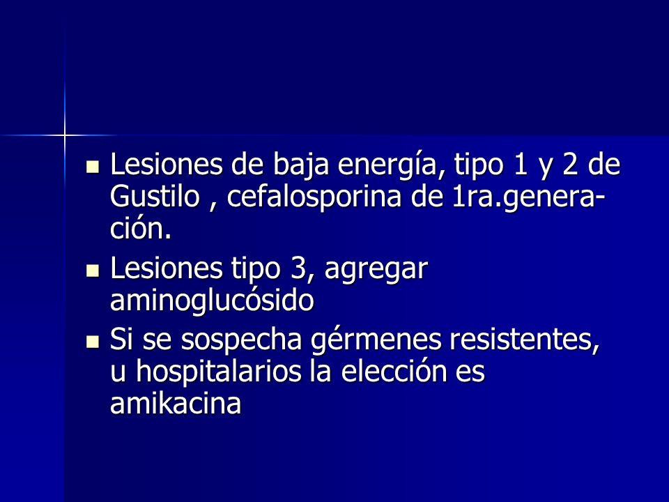 Lesiones de baja energía, tipo 1 y 2 de Gustilo , cefalosporina de 1ra