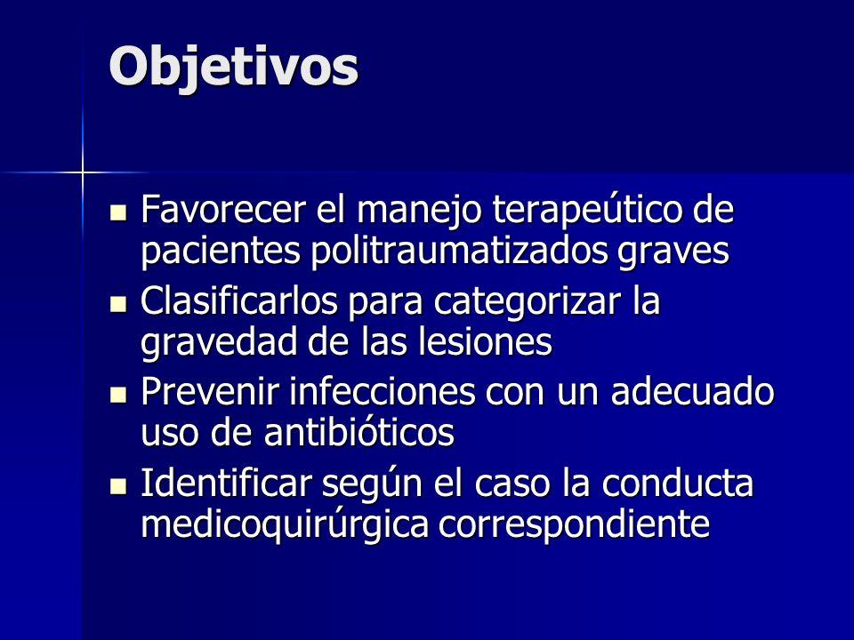 Objetivos Favorecer el manejo terapeútico de pacientes politraumatizados graves. Clasificarlos para categorizar la gravedad de las lesiones.