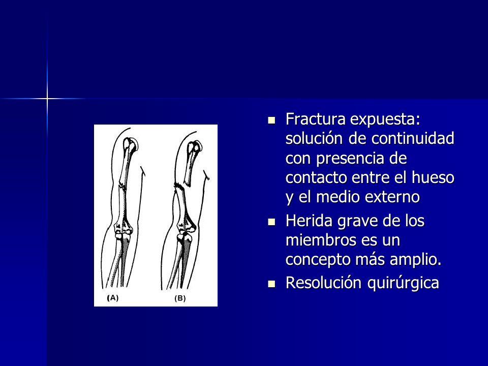 Fractura expuesta: solución de continuidad con presencia de contacto entre el hueso y el medio externo