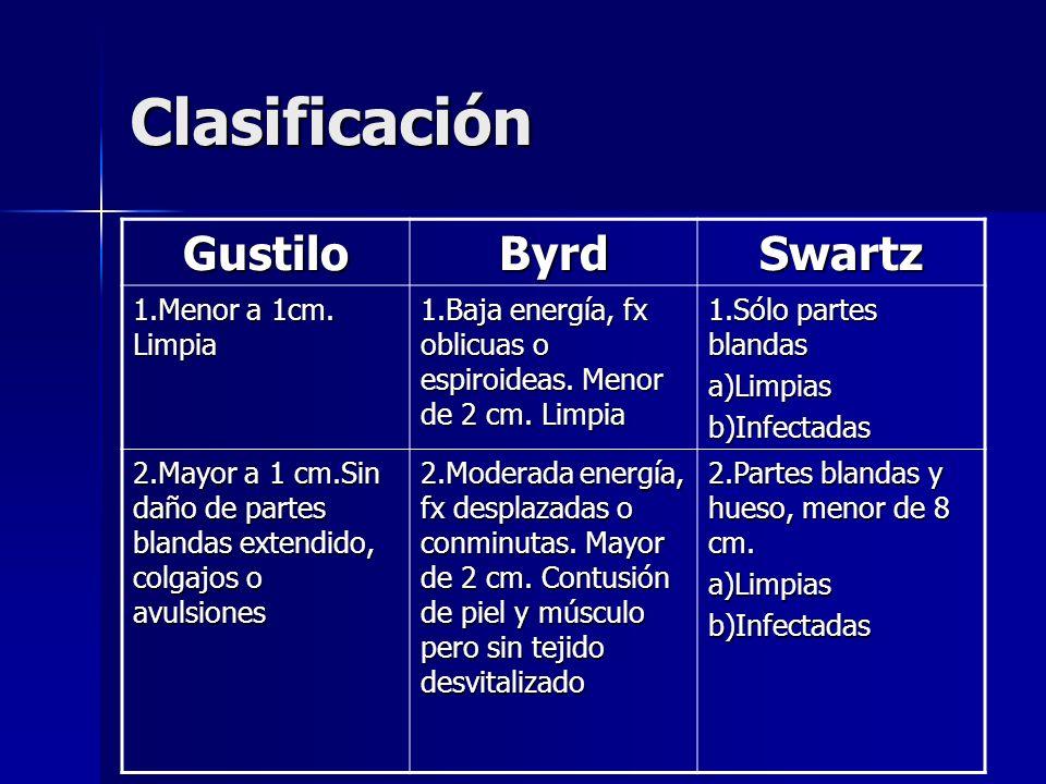 Clasificación Gustilo Byrd Swartz 1.Menor a 1cm. Limpia